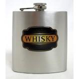 Flachmann Edelstahl gebürstet - Whisky  ca. 9,3 x 12,5 x2,6 cm B/H/T