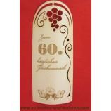 Flaschenetikett - Echtholzfurnier - Zum 60.Geburtstag - selbstklebend