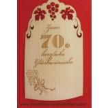 Flaschenetikett - Echtholzfurnier - Zum 70.Geburtstag - selbstklebend