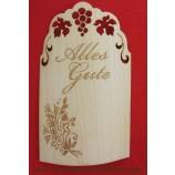 Flaschenetikett - Echtholzfurnier - Alles Gute -  selbstklebend