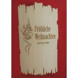 Flaschenetikett - Echtholzfurnier - Fröhliche Weihnachten -  selbstklebend