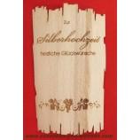 Flaschenetikett - Echtholzfurnier - Zur Silbernen Hochzeit -  selbstklebend