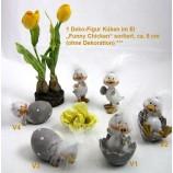1 Deko-Figur Küken im Ei Funny Chicken, Sortiert ca. 8 cm