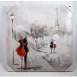 Wandbild Gemälde Pariser Schirmpaar 60x60 cm Eiffelturm V1