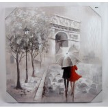 Wandbild Gemälde Pariser Schirmpaar 60x60 cm Triumphbogen V2