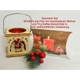Geschenk-Set Holzteelicht-Laterne mit 70 g Kaffee-Genuß