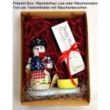 "Geschenke-Box  Räucherfigur als Teelichthalter Lisa/Toni"" 14 cm sortiert"
