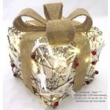 Geschenkpaket Rattan inkl.LED Beleuchtung 18x16x16cm natur