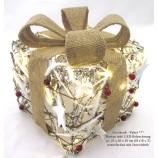 Geschenkpaket Rattan inkl.LED Beleuchtung 23x20x20cm (HxBxT) natur