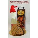 Geschenk-Set Beeren-Perlwein, Kaffee und Spiegelglas-Teelichthalter