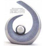 """Keramik-Dekovase """"Stone-silber"""" geschwungen mit Kugel 20 cm"""