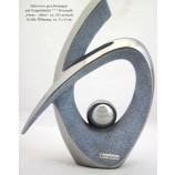 """Keramik-Dekovase """"Stone-silber"""" geschwungen mit Kugel 29 cm"""