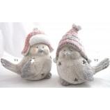 """Windlicht Gips-Figur """"Wintervogel"""" rote Mütze 2-fach sort.rot/grau/weiß ca.28cm"""