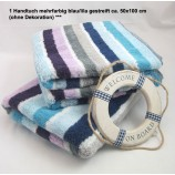 1 Handtuch mehrfarbig blau/lila gestreift ca. 50x100 cm