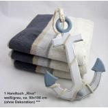 1 Handtuch Riva grau/creme Streifen ca. 50x100cm