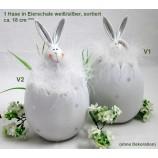 1 Hase in Eierschale weiß/silber sortiert ca. 18 cm