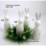1 Deko - Hase stehend mit LED,  Weiß ca. 20 cm - sortiert