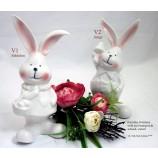 Porzellan Hasenmädchen stehend mit Korb V1 ca. 9,7x7,4x18,9 cm