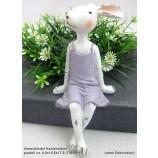 1 Hasenfrau - Kantensitzer, pastell lila/rosa/weiß ca.8,5x12,5x17,5cm (T/B/H)