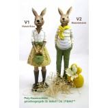 1 Poly - Hasenschüler - Junge stehend grün/gelb/beige ca. 8x8x37 cm (T/B/H)