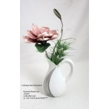 Keramik-Henkelvase Cut Gardo silber-weiß matt, ca. 7,0 x 17,0 x 22,0 cm (T/B/H)