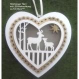 Holzhänger Herz mit 3LED`s weiß-natur ca. 12 x 12 cm