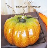 Keramik-Kürbis breite Form Orange/Braun ca. 19 x 19 x 16 cm