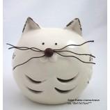 Keramik - Deko - Katze creme-braun Solar, ca. 13 x 17 x 17 cm