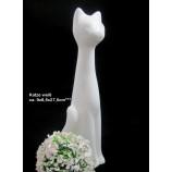 Keramik - Katze weiß mit leichter Reaktionsglasur, ca. 9 x 8,5 x 27,5 cm