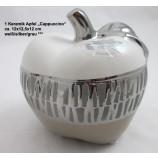 1 Keramik Apfel Cappuccino, weiß/silber/grau, ca. 12x12,5x12 cm