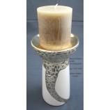 """Keramik Kerzenhalter""""Cerosa"""" weiß/champagner;ca 11x11x20cm (T/B/H)"""