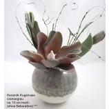Keramik Kugelvase creme/grau ca. 13x14x14 cm (H/B/T)