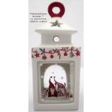 Tischlaterne Keramik Weihnachten,ca. 10x10x25cm weiß/rot