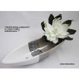1 Keramik Schale Cappuccino, weiß/silber/grau, ca. 7x33x11 cm