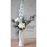 "Keramikschnittvase""Cerosa""groß,weiß/champagner;ca 9x15x39cm (T/B/H)"