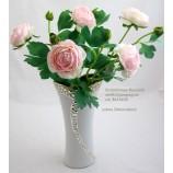 """Keramikschnittvase""""Cerosa""""klein,weiß/champagner;ca 8x13x30cm (T/B/H)"""