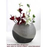 Keramik-Vase Bridgetown anthrazit/silber ca. 7 x 27 x 21 cm (T/B/H)