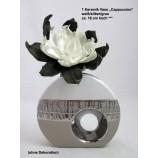 Keramik Vase Cappuccino, oval mit Loch, silber/weiß ca. 18 cm