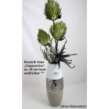 Keramik Vase Cappuccino silber/weiß ca. 35 cm