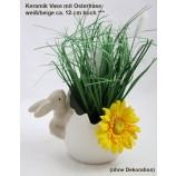Keramik Vase mit Osterhase weiß/beige ca. 12 cm