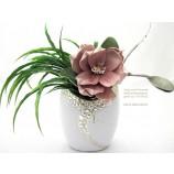 "Keramikvase oval""Cerosa""groß,weiß/champagner;ca 11x16x22cm (T/B/H)"