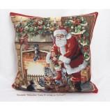 Kissenhülle Gobelin - Weihnachten- Kamin rot/bunt, ca.45 x 45 cm abgepasst