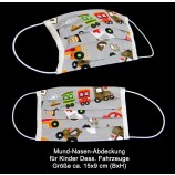Mund-Nasen-Abdeckung für Kinder aus 100 % Baumwolle Dess. Fahrzeuge