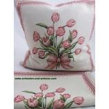 Kissenhülle Gobelin , Tulpenstrauß  45 x 45 cm Creme / Rosa