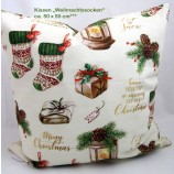 """Kissenhülle - Weihnachtssocken"""" creme-bunt, ca.50 x 50 cm"""
