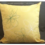 Kissenhülle gelb m.farbigen graphischen Blüten ca.45x45cm