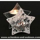 Modernes Teelicht aus Glas Stern Tannenzapfen mit Glitter 9 cm
