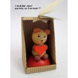 """1 Gruß - Bär """"Herz"""" aus Holz, ca. 5 cm hoch"""