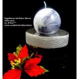 Kugelkerze mit Dekor Sterne silber-grau  ca. 6 cm