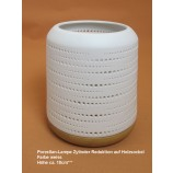 Porzellan-Lampe Zylinder Reduktion auf Holzsockel weiß H ca. 18cm